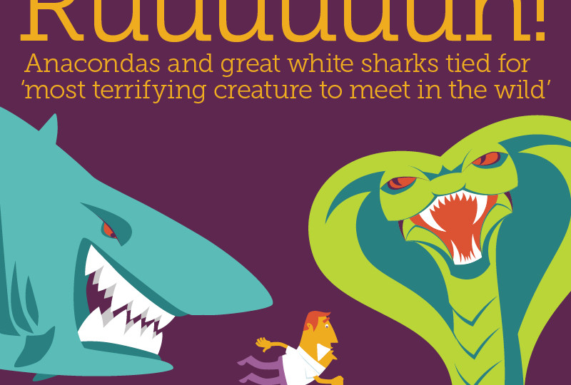 Anacondas and great white sharks tied