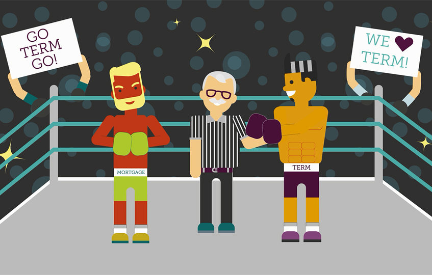 Term Insurance boxer and Mortgage Insurance boxer in the ring