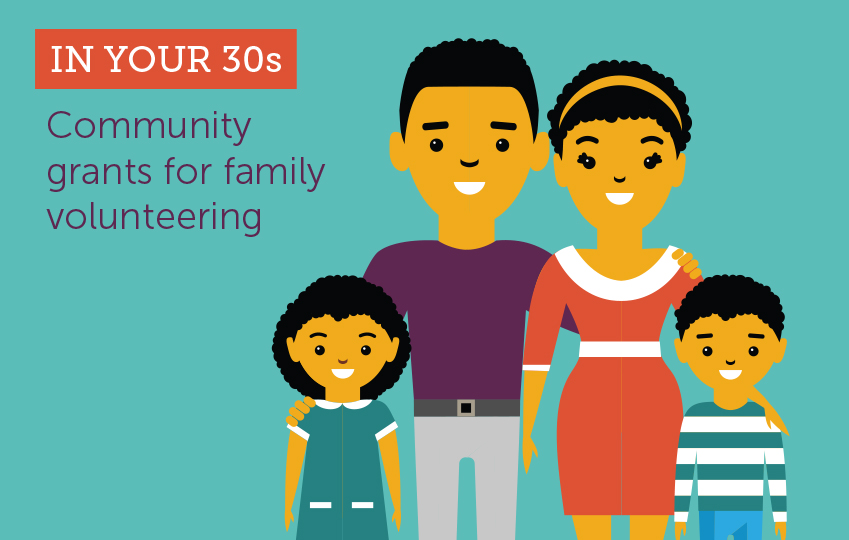 In your 30s. Community grants for family volunteering
